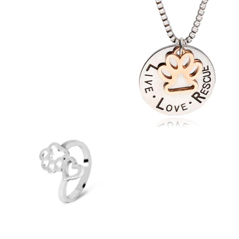 Live, Love Rescue Necklace & Ring Set