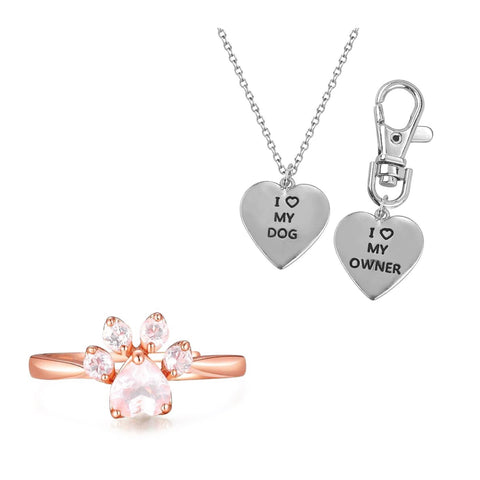 "Rose Gold Paw Ring and ""I Love My Dog, I Love My Owner"" Necklace Set"