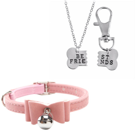 BFF Necklace and Velvet Bow Collar Set