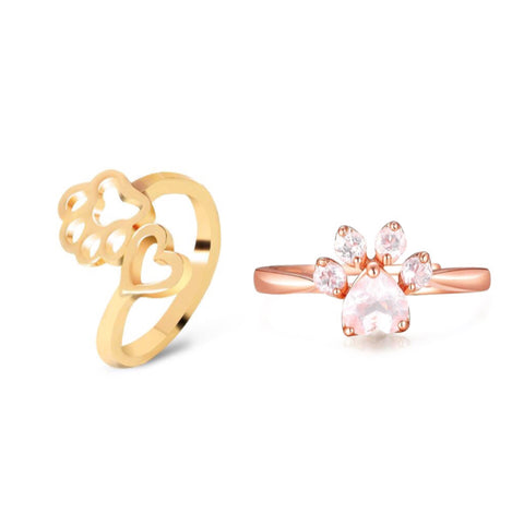 Wrap Paw Heart Ring & Rose Gold Paw Ring Set