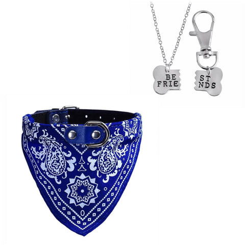Bandana Pet Collar & Best Friends Necklace Set