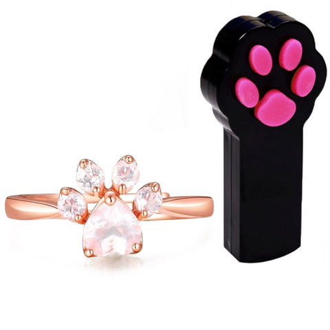 Rose Gold Paw Ring & Paw Beam Lazer Pointer Set