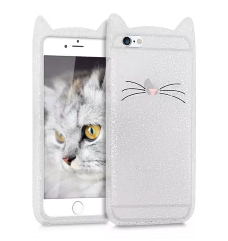 "Glitter White ""I'm a Cat"" iPhone Case"