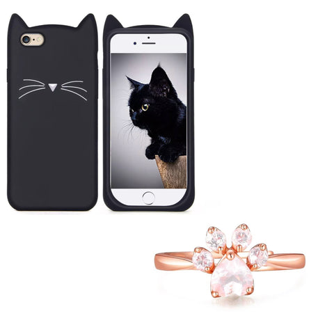 "Black ""I'm a Cat"" iPhone Case & Rose Gold Paw Ring Set"