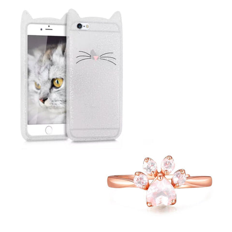 "Glitter White ""I'm a Cat"" iPhone Case & Rose Gold Paw Ring Set"