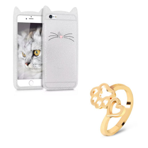 "Glitter White ""I'm a Cat"" iPhone Case & Gold Paw Heart Wrap Ring Set"