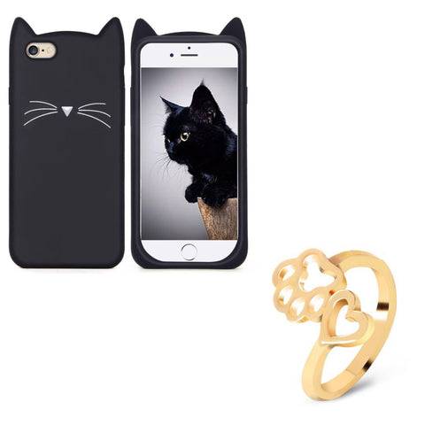 "Black ""I'm a Cat"" iPhone Case & Gold Paw Wrap Ring Set"