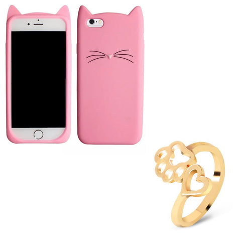 "Pink ""I'm a Cat"" iPhone Case & Gold Paw Wrap Ring Set"