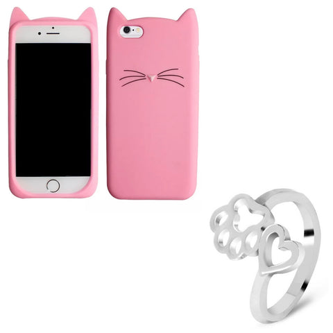"Pink ""I'm a Cat"" iPhone Case & Silver Paw Wrap Ring Set"
