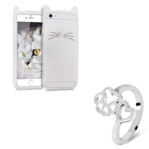 "Glitter White ""I'm a Cat"" iPhone Case & Silver Paw Heart Wrap Ring Set"