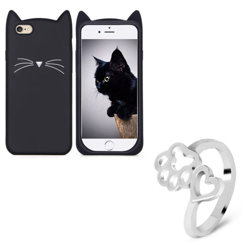 "Black ""I'm a Cat"" iPhone Case & Silver Paw Wrap Ring Set"