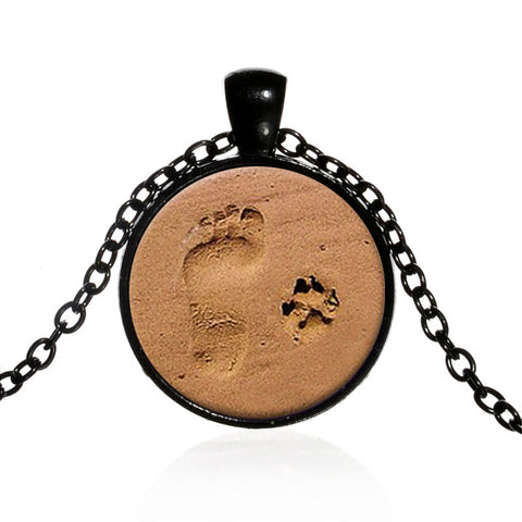 Footprint & Dog Paw Print In The Sand Necklace
