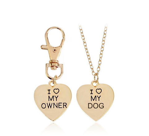 "2pc ""I love my dog"", ""I love my owner"" necklace set"