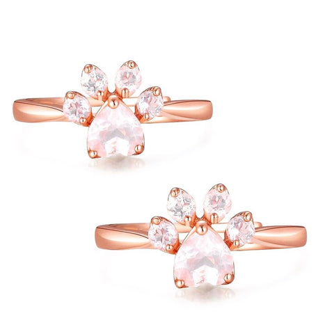 2-Pack of Rose Gold Paw Rings