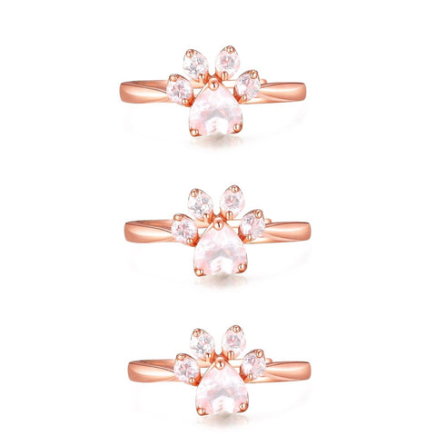 3-Pack of Rose Gold Paw Rings (Buy 2 get 1 FREE)