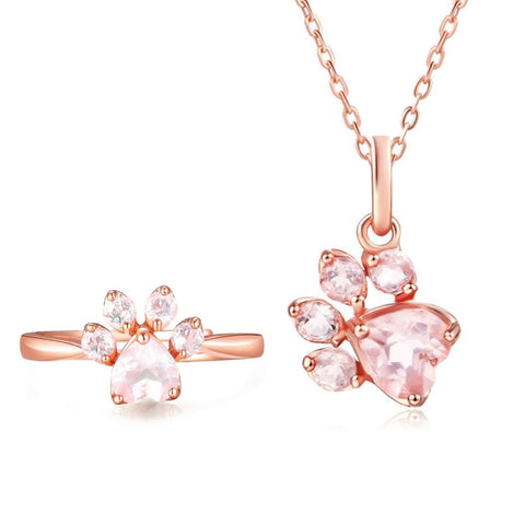 Rose Gold Paw Ring & Rose Gold Necklace Set