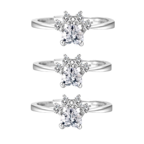 3-Pack of Silver Paw Rings (Buy 2 get 1 FREE)