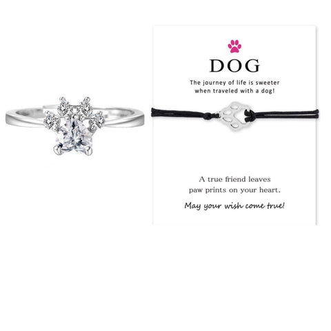 Dog Paw Bracelet & Silver Paw Ring Set