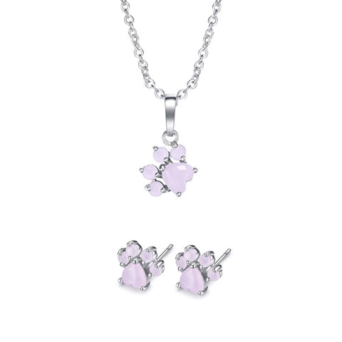 Rose Gold & Silver Paw Necklace & Rose Gold & Silver Paw Earring Set