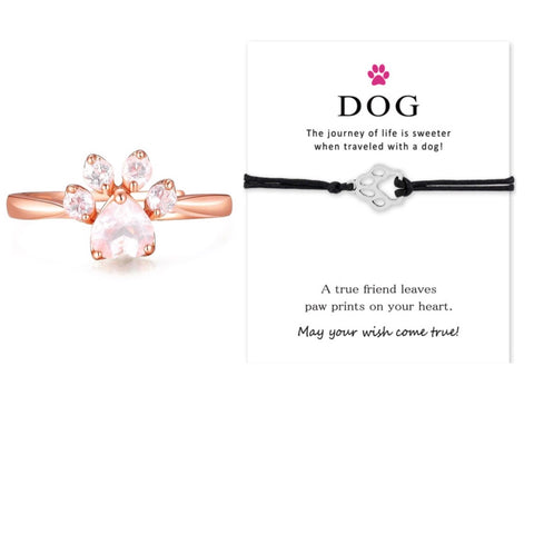 Dog Paw Bracelet & Rose Gold Paw Ring Set