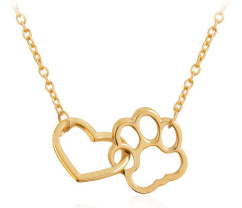Interlocking Paw Heart Necklace