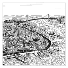 San Francisco Golden Gate Bridge - San Francisco most intense street in digital art, wall art, canvas wrap, ready to hang