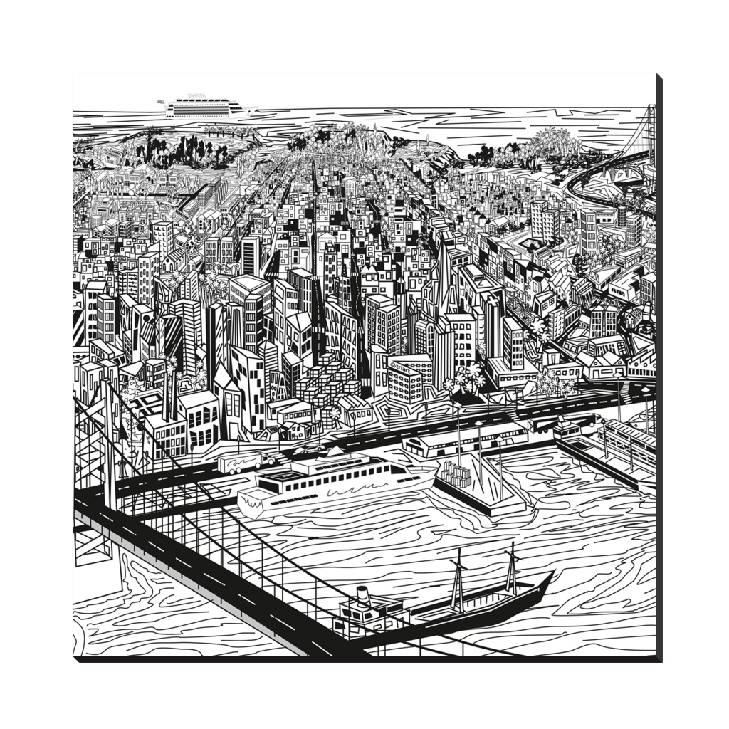 View Of San Francisco -  View Of San Francisco in digital art, wall art, canvas wrap, ready to hang.  Thickness: 1.25 inch