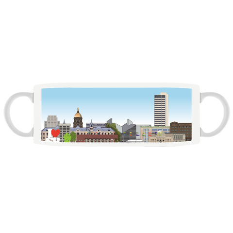 I Love SB - South Bend, Indiana, quality ceramic mug, sports handle, dishwasher and microwave safe
