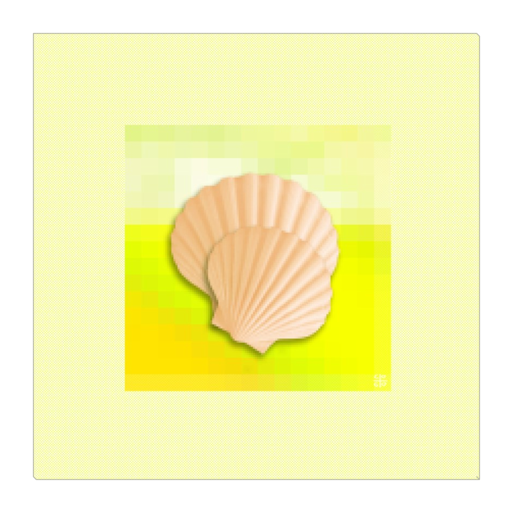 Bottom of the Sea - shells and sea life in yellow, digital art, wall art, canvas wrap, ready to hang