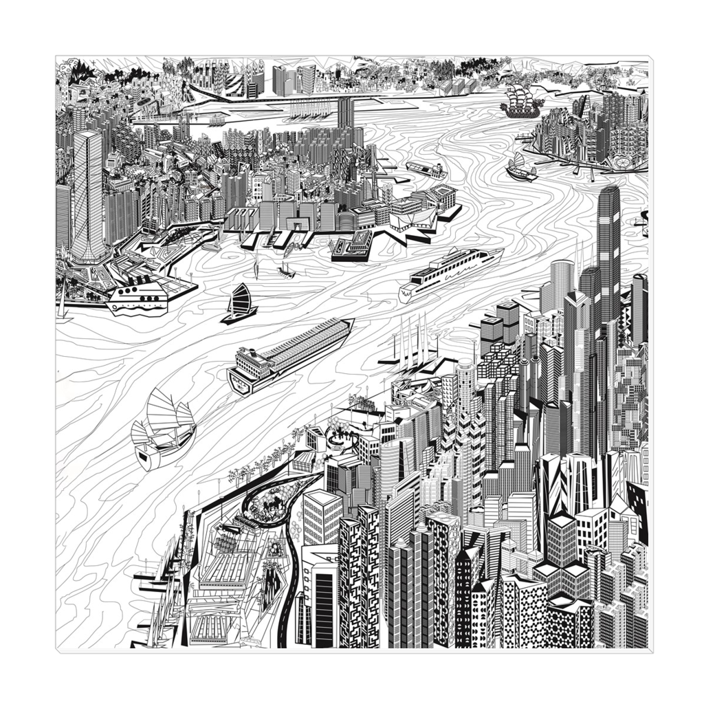 Pearl of the Orient - a unique presentation of Hong Kong, digital art, wall art, canvas wrap, digital sketch, ready to hang
