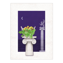 Summer Night, Grapes & Columns - digital art, wall art, canvas wrap