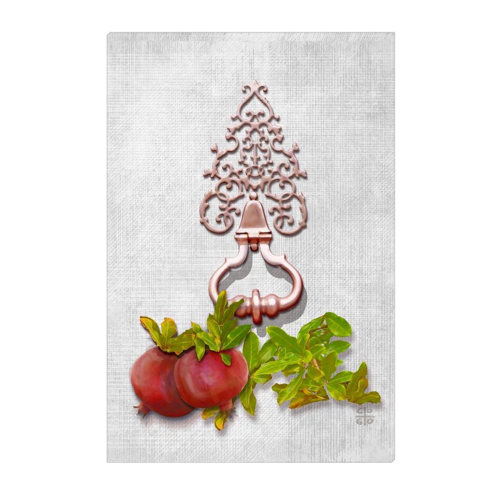 Pomegranates & Door Knob - digital art, wall art, canvas wrap, ready to hang