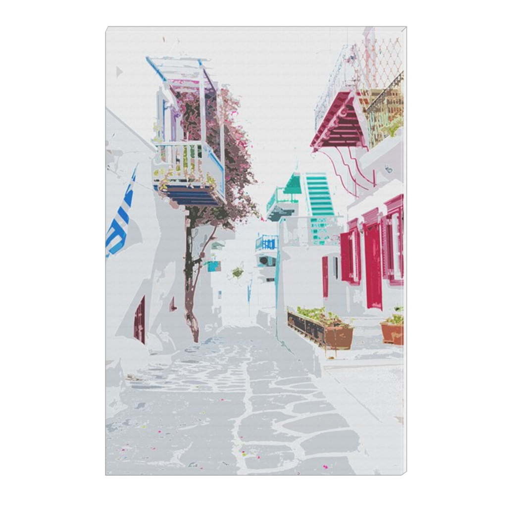 Whitewashed Alley - Myconos, Greece, digital art, wall art, canvas wrap, ready to hang