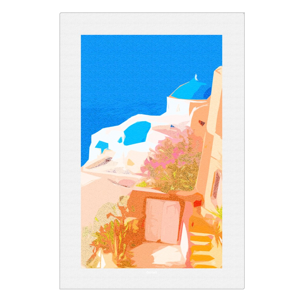 Santorini - digital art, wall art, canvas wrap, ready to hang