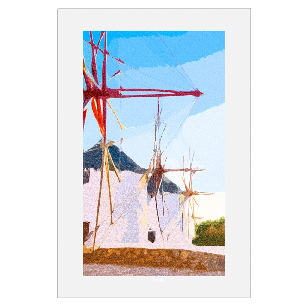 Waiting for the Winds - Windmills, Myconos, Greece, digital art, wall art, canvas wrap, ready to hang