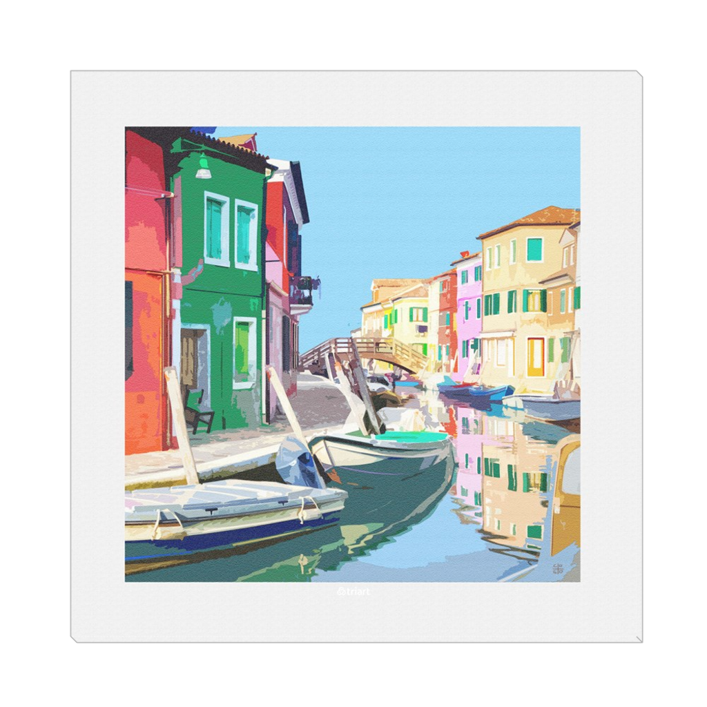 Colorful Burano - Burano, Venice, digital art, wall art, canvas wrap, ready to hang