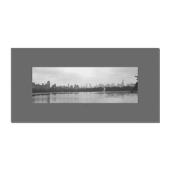 Skyline & Reflections at the Park #1 - digital art, wall art, canvas wrap, ready to hang