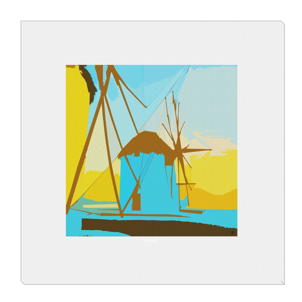 Myconian Sunset & Magic - Myconos, Windmills, digital art, wall art, canvas wrap, ready to hang