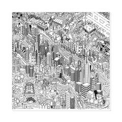 New York City - A unique artistic depiction of the most exciting city in the world, Manhattan neighborhood, wall art, canvas wrap, ready to hang