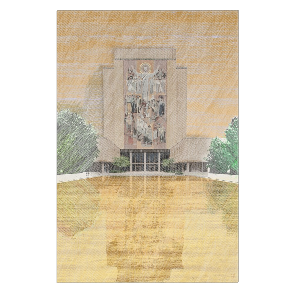 Notre Dame & Touchdown Jesus - Notre Dame, South Bend - digital art, wall art, canvas wrap, ready to hang