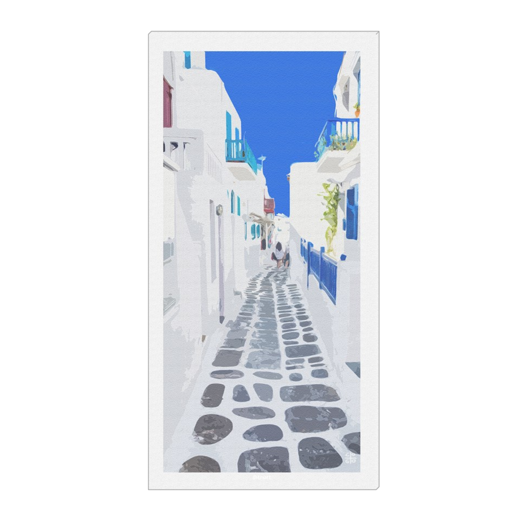 Myconian Footpath - Myconos, Greece, digital art, wall art, canvas wrap, ready to hang