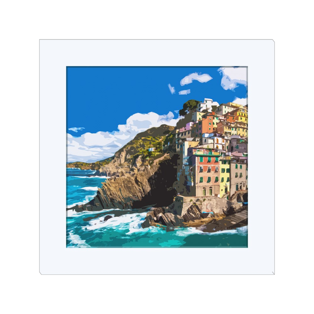 Cinque Terre Italy, one of the most beautiful Italian village created in digital art, wall art, canvas wrap, ready to hang