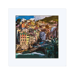 Cinque Terre Port - Cinque Terre Italy, one of the most beautiful Italian village created in digital art, wall art, canvas wrap, ready to hang