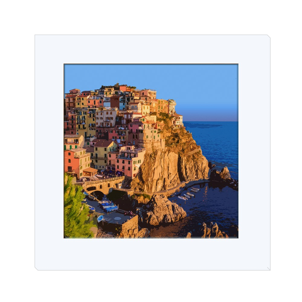 Cinque Terra Italy  looking at the sea - one of the most beautiful Italian village created in digital art, wall art, canvas wrap, ready to hang