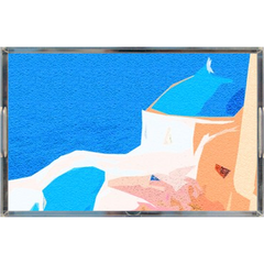 Acrylic tray -Little Church and Sea View, Greece