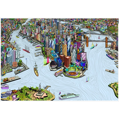 New York City - A unique artistic depiction of the most exciting city in the world | poster, color