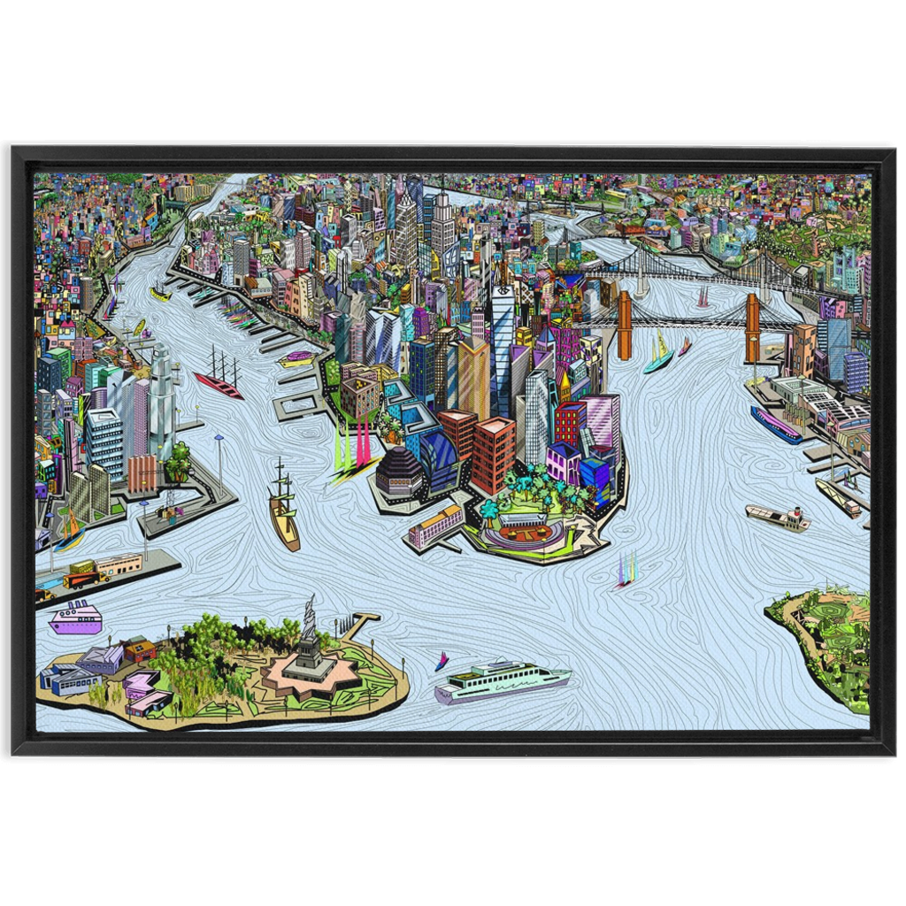 New York City - A unique artistic depiction of the most exciting city in the world | framed canvas wrap, color