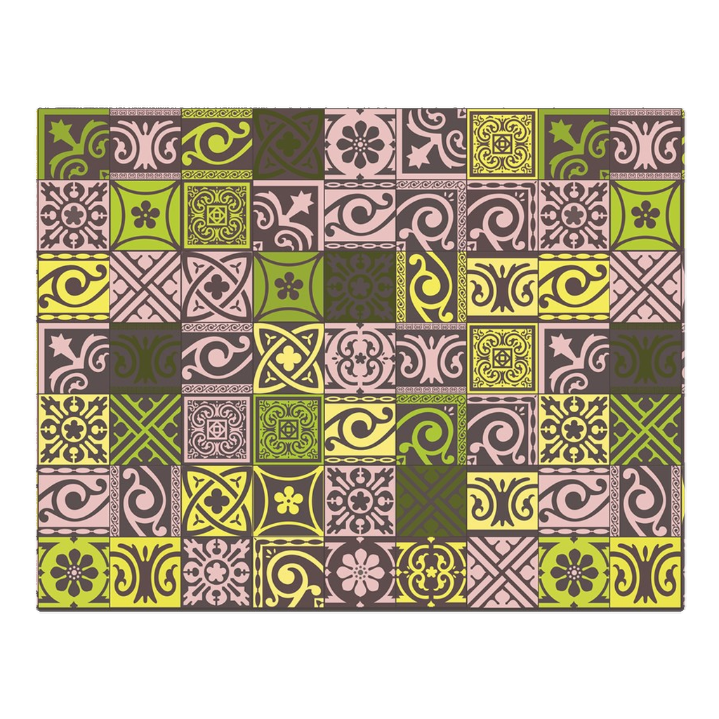 Traditional green, yellow and pink tile pattern - woven placemat