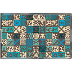 Acrylic Tray - traditional tile pattern blue