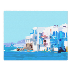 Little Venice and the waves of the Aegean - Myconos, Greece - woven placemat